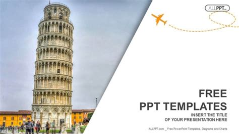 travel themed powerpoint template leaning tower of pisa travel powerpoint templates