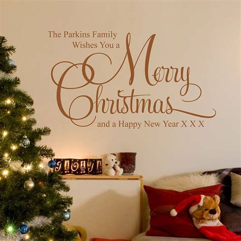 Merry Christmas Wall Stickers personalised christmas family wall stickers by parkins