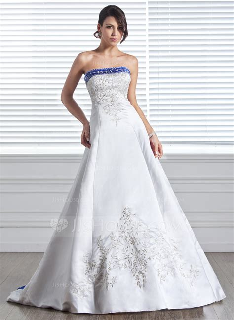 hochzeitskleid farbig a line princess strapless court train satin wedding dress