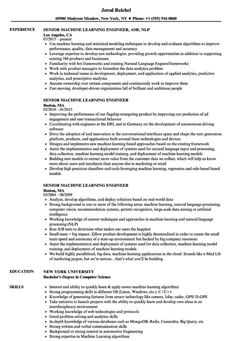 Machine Learning Resume by Senior Machine Learning Engineer Resume Sles Velvet