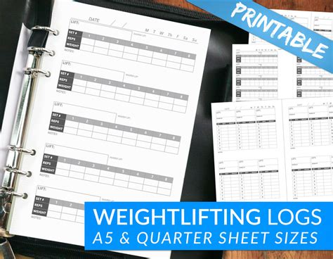 printable crossfit journal weightlifting workout journal tracking pages printable pdf