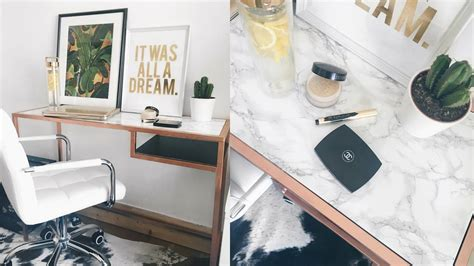rose gold desk l video ikea hack diy marble copper rose gold desk