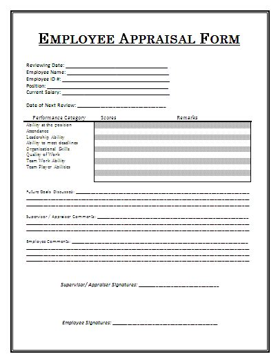 appraisal form template employee appraisal form a to z free printable sle forms