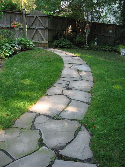 backyard pathways irregular flagstone pathway side yard shade walkways