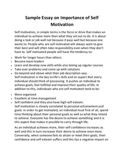 Self Writing Essay by Sle Essay On Importance Of Self Motivation