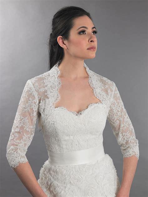 3 4 sleeve ivory bridal alencon lace bolero jacket lace 112
