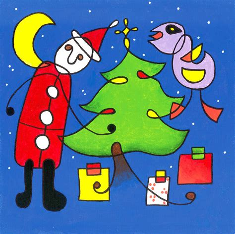 miro style christmas tree painting by e gibbons