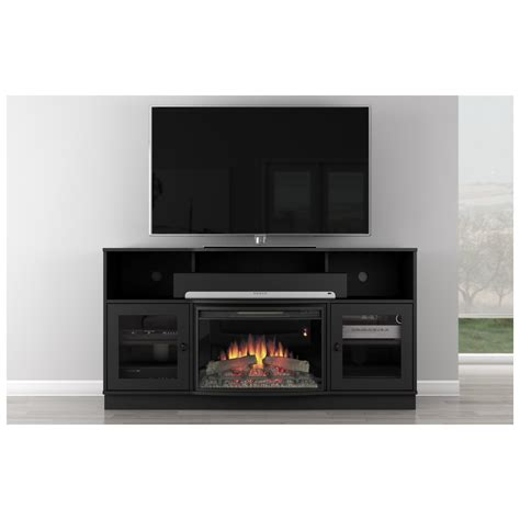 furniture large black wooden tv stand with fireplace and