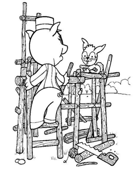 stick house coloring page bluebonkers 3 pigs coloring sheets pig and bunny