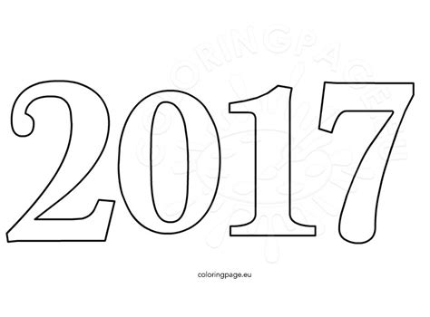 color for 2017 happy new year 2017 celebration number coloring page