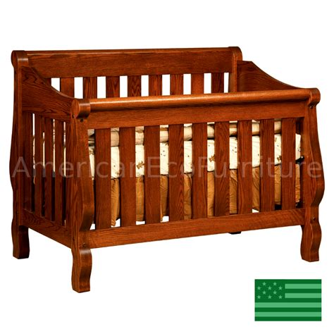 sleigh convertible baby crib made in usa solid wood