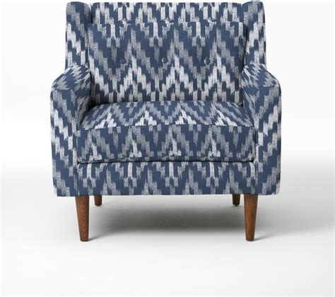 ikat armchair crosby armchair ikat chevron regal blue modern