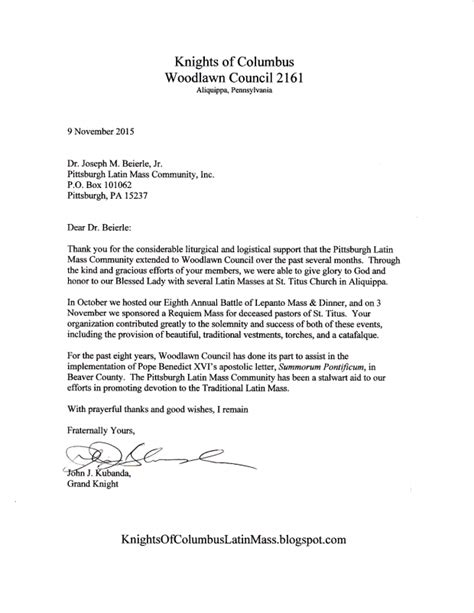 thank you letter to client for continued support thank you for your continued support from knights of