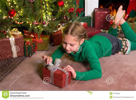 opening christmas gifts royalty free stock photos image