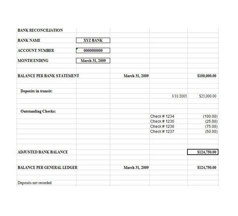 50 Bank Reconciliation Exles Templates 100 Free Simple Bank Reconciliation Template