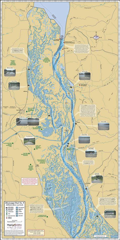 map of mississippi river mississippi river pool 9 fold map