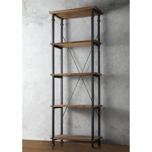 Vintage Industrial Bookshelves Rustic Bookcase 5 Shelf Black Metal Wood Media Tower