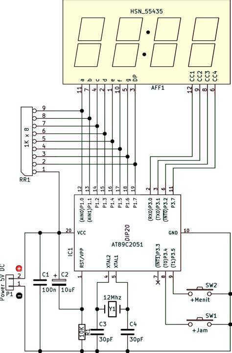 rangkaian jam digital dengan codevision avr dan 7 seven jam digital seven 7 segment 4 digit ic at89c2051