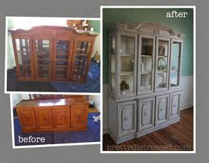 Dining Room Table Refinishing by Pretty Distressed At Last The Dining Hutch Reveal Has