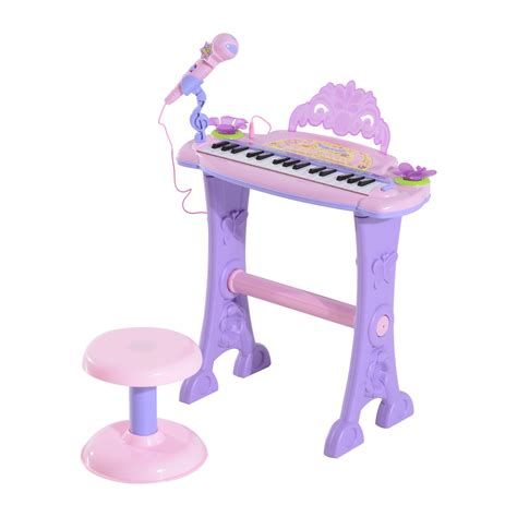 Toddler Keyboard With Microphone And Stool by Qaba 32 Key Butterfly Garden Electronic Piano