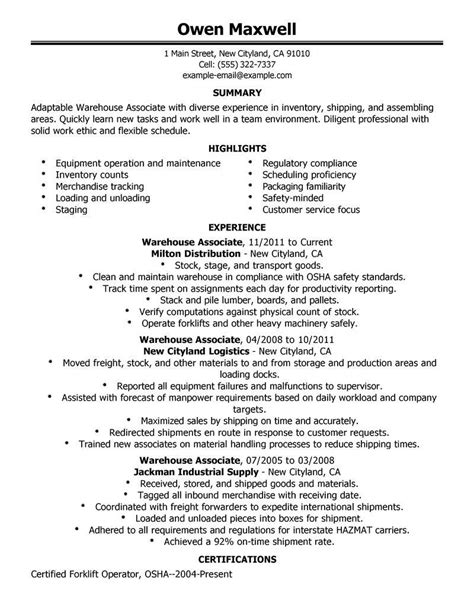 free resume sle for warehouse worker warehouse resume objective sles for worker executive summary template exercises