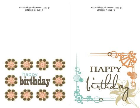 Birthday Card Template Printable by L And D Design Free Birthday Card Printable