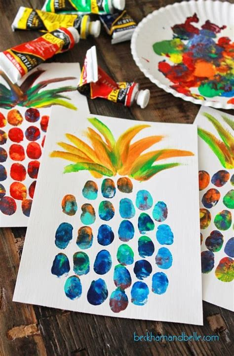 summer craft projects pineapple thumbprint painting for summer