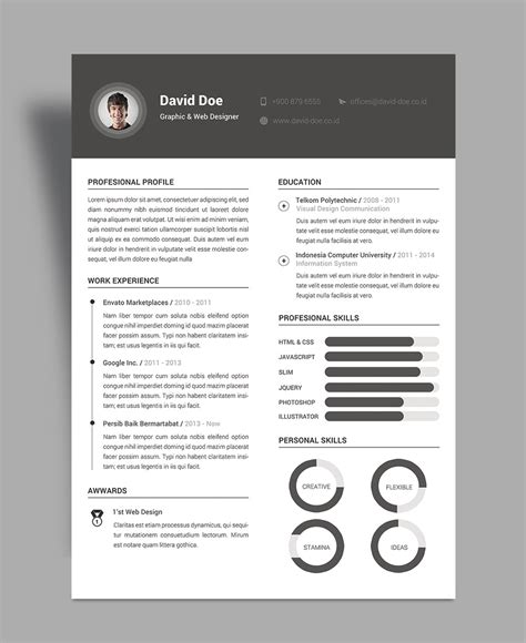 design cv size free elegant resume cv design template psd file good