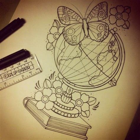 tattoo don t use lotion antique globe book and butterfly lovely custom drawing