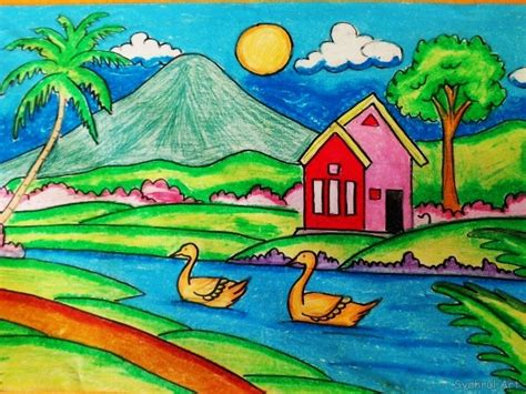 lukisan dari crayon atau pastel lukisan dengan menggunakan crayon pastel karya syahrul