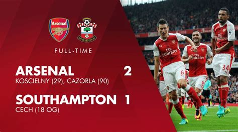 arsenal match result arsenal vs southton match report the armoury