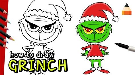 how to draw grinch youtube how to draw grinch chibi grinch christmas drawing for kids youtube