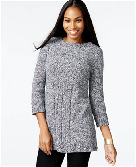 style co knit pattern tunic sweater style co cable knit tunic sweater only at macy s