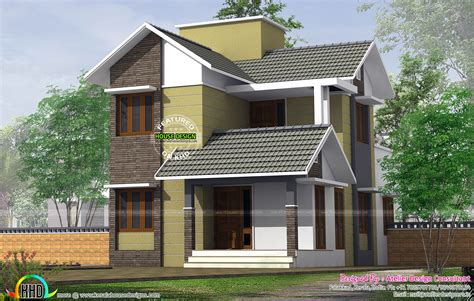 small slope roof storied house kerala home design