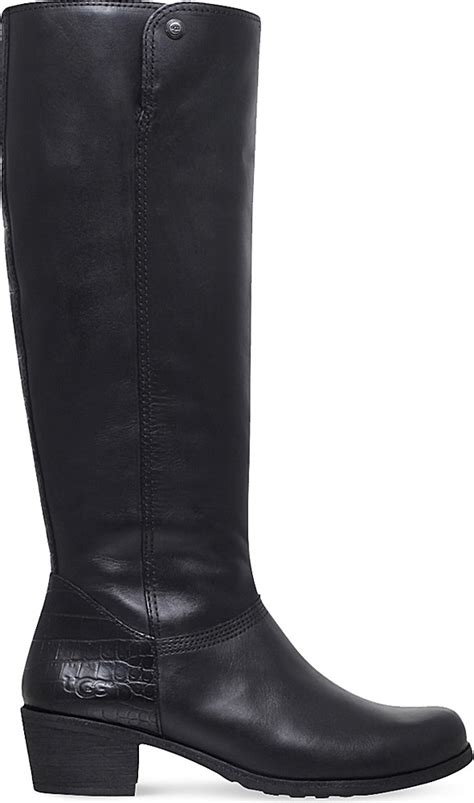 ugg barton croco leather knee high boots in black lyst