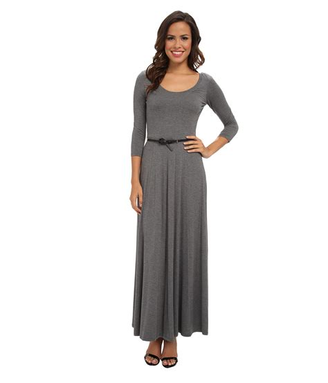 Emposis Maxi Dress Rayon Free Belt calvin klein 3 4 sleeve belted rayon span maxi dress charcoal shipped free at zappos