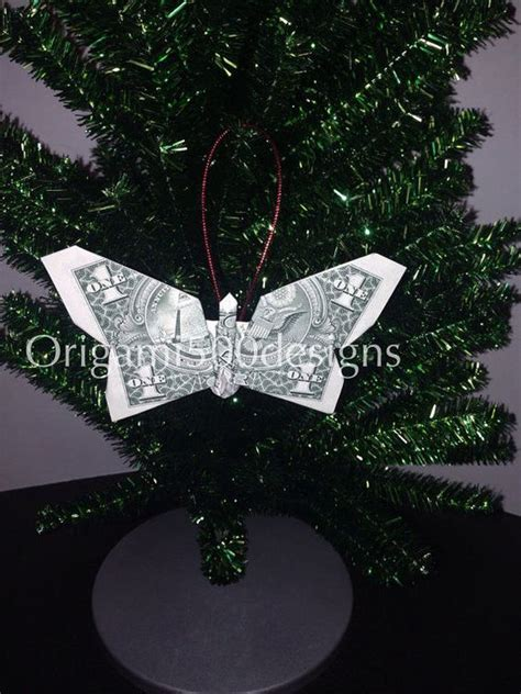 Tree Dollar Bill Origami - money origami butterfly tree ornament