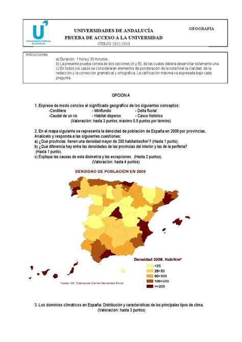 preguntas geografia selectividad examen de selectividad geograf 237 a andaluc 237 a convocatoria