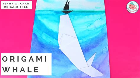 origami whale tutorial origami whale ocean watercolor tutorial 187 origamitree com