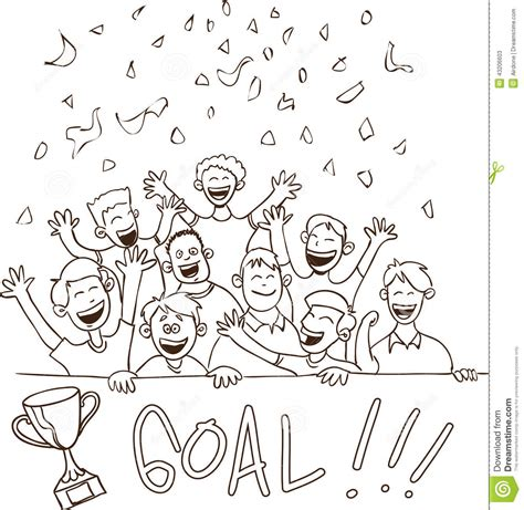doodle football happy football supporters doodle vector