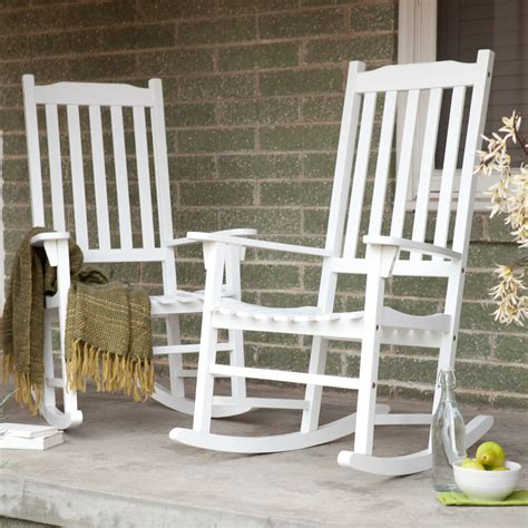 Rocking Chairs For Porch by Coral Coast Indoor Outdoor Mission Slat Rocking Chairs White Set Of 2 Outdoor Rocking