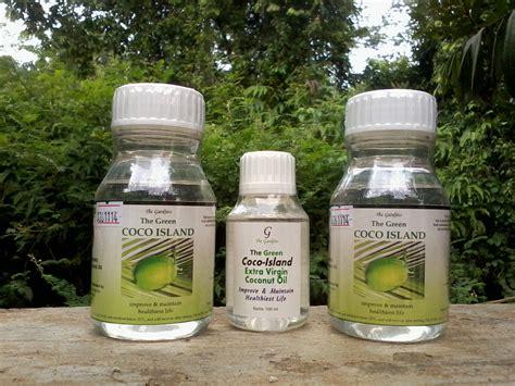 Minyak Kelapa Kemasan green coco island berbagai produk vco untuk kesehatan
