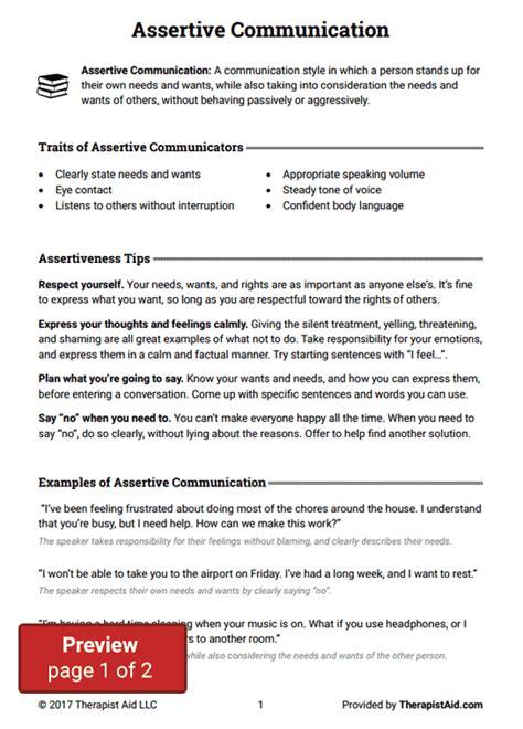 Communication Styles Worksheet by Assertive Communication Worksheet Therapist Aid