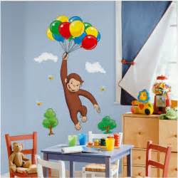 giant curious george wall decal kids room stickers decorations monkey decals roommates