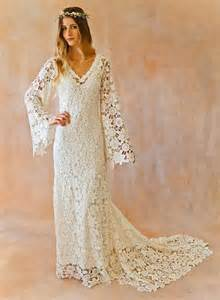 boho wedding dress bell sleeve simple crochet lace