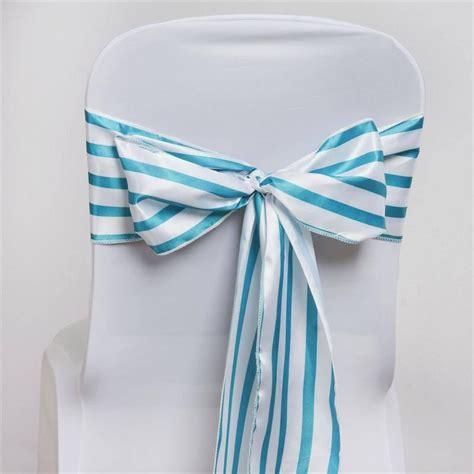 lovable stripes chair sash white turquoise