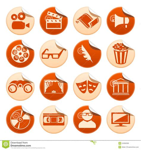 Stiker Cione cinema and theatre stickers royalty free stock images
