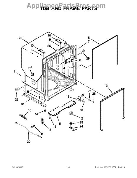 parts for whirlpool wdt910sayh2 tub and frame parts