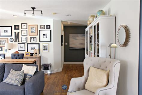 family room  photo gallery wall gray sectional