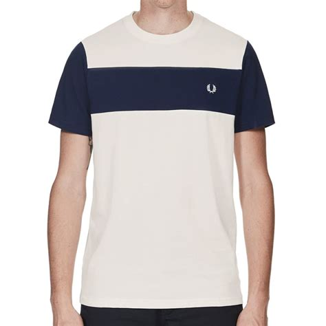 Panel Shirt fred perry textured panel t shirt in snow white jon barrie m1551